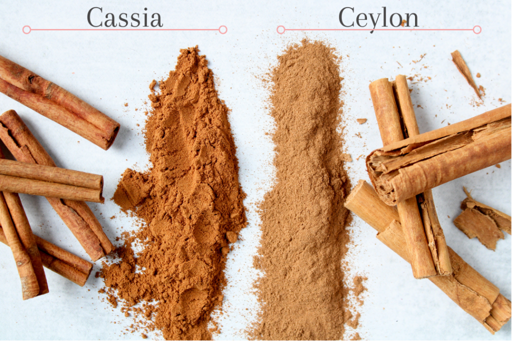Comparison in color and texture in between Cassia and Ceylon cinnamon. On a pale blue table, you can see ground and stick form of both Cassia and Ceylon cinnamon.