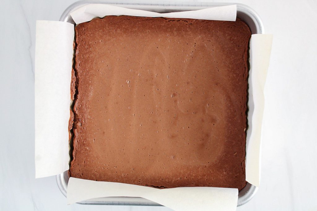 Showing is the result of this recipe after just being cut. You can see the cake still in its baking dish.