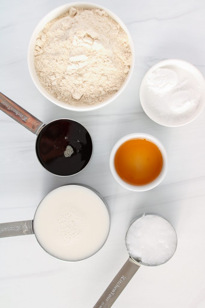 Showing are the ingredients needed to make the cake portion of the vegan dessert.
