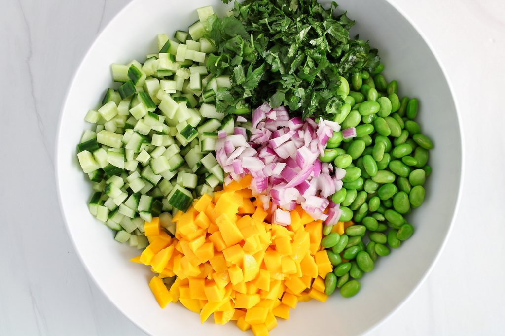 In process picture: You can see the ingredients to make this recipe that are placed in a bowl.